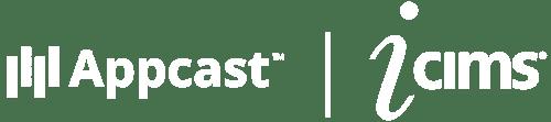 Appcast + iCIMS co-branded logo white